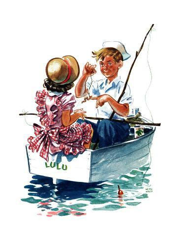 Teaching How to Fish - Child Life Giclee Print