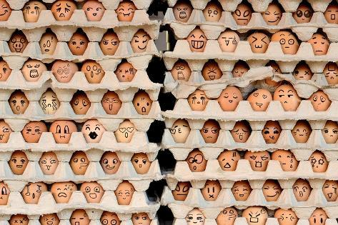 Faces on the Eggs. Differences Faces Living Together - Diversity Concept Photographic Print