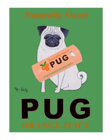 Pug Orange Juice Collectable Print