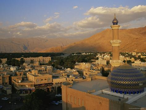 View from Nizwa Fort to Western Hajar Mountains, Nizwa, Oman, Middle East Photographic Print