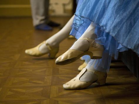 St.Petersburg, Russia, Detail of Ballerinas Shoes and Dress During a Short Rest Backstage During th Photographic Print