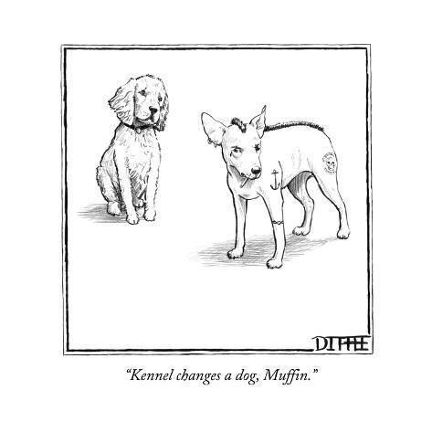 kennel changes a dog muffin new yorker cartoon premium giclee