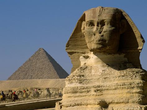 The Sphinx with 4th Dynasty Pharaoh Menkaure's Pyramid, Giza, Egypt Photographic Print