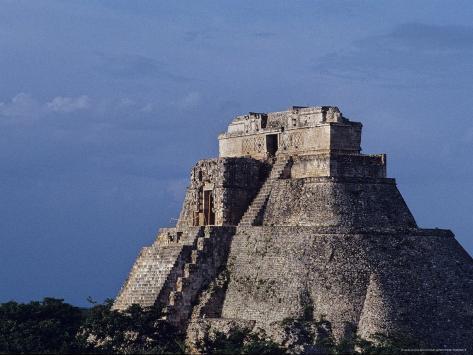 Tourist, Pyramid, Uxmal, Mexico Photographic Print