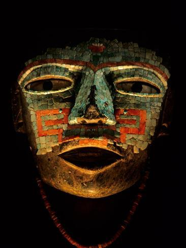 Turquoise, Mosaic, Mask, Teotihuacan, Mexico Photographic Print