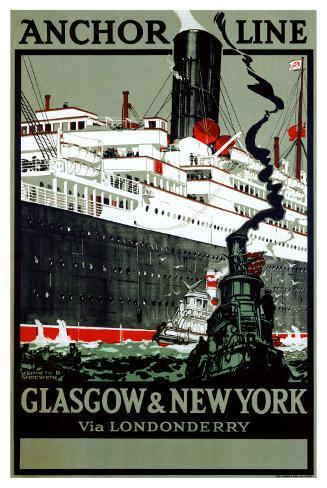 Anchor Line, Glasgow to New York Giclee Print