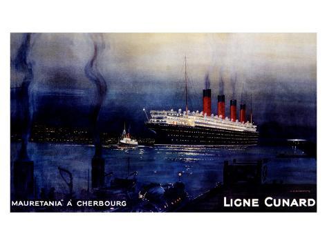 Cunard Line, Mauretania to Cherbourg Giclee Print