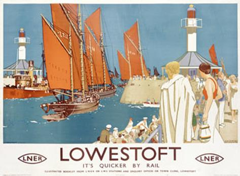 Lowestoft Sailing Rail Giclee Print