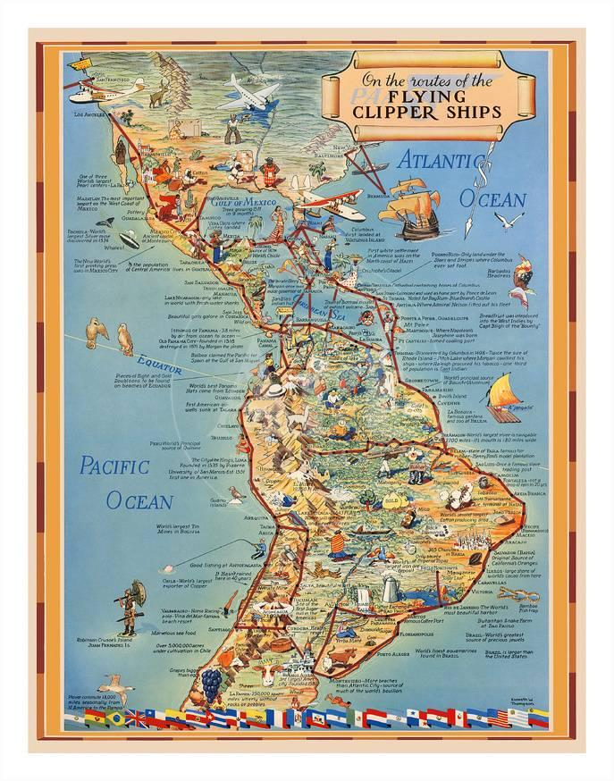 Pictorial Map Of North South America Flying Clipper Ships Routes