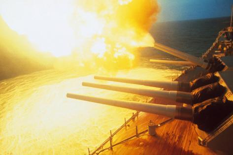 View of USS New Jersey Firing Guns Photographic Print