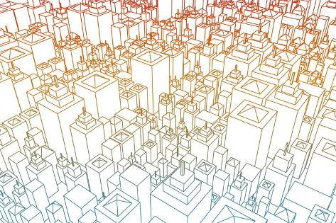 Wireframe city with buildings and blueprint design art prints by wireframe city with buildings and blueprint design art malvernweather Choice Image