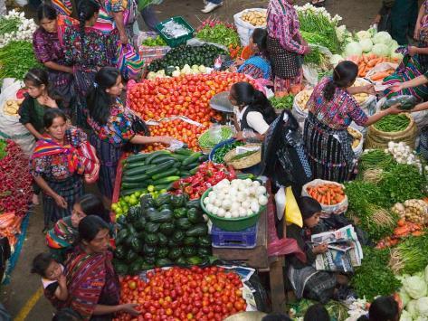 Colorful Vegetable Market in Chichicastenango, Guatemala Photographic Print