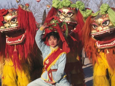 Girl Playing Lion Dance for Chinese New Year, Beijing, China Photographic Print