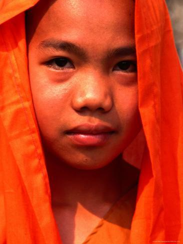 Portrait of a Young Monk, Xishuangbanna, China Photographic Print