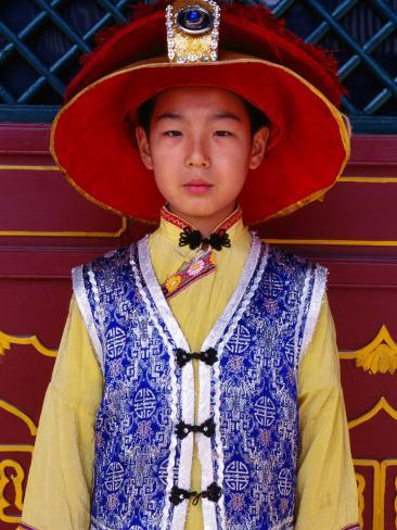 Portrait of Boy in Traditional Manchurian Costume, Chengde, China Photographic Print