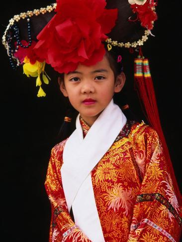 Portrait of Girl Dressed in Traditional Manchurian Costume, Chengde, China Photographic Print