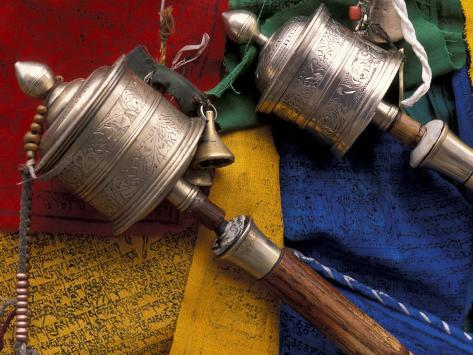 Prayer Wheels and Flags, Lhasa, Tibet Photographic Print