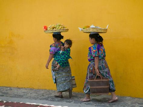 Women Carrying Basket on Head, Antigua, Guatemala Photographic Print