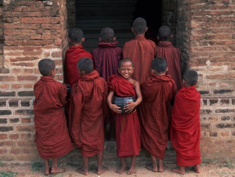 Young Monks in Red Robes with Alms Woks, Myanmar Photographic Print