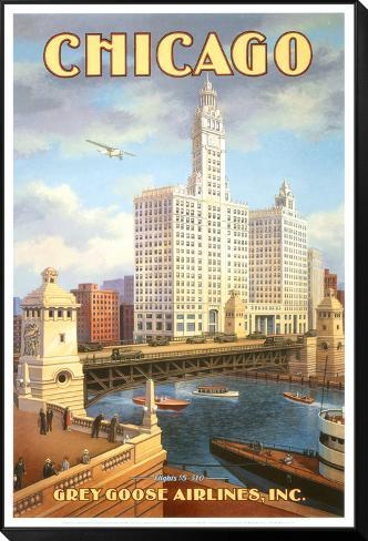 Chicago Lámina montada y enmarcada por Kerne Erickson en AllPosters.es