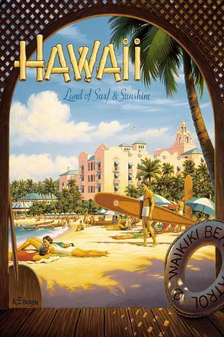 Havaí, Terra do surfe e do sol Adesivo de parede