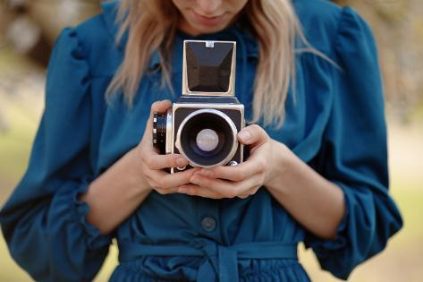 Girl in Vintage Blue Dress Holding Old Medium Format Camera. Photographic Print