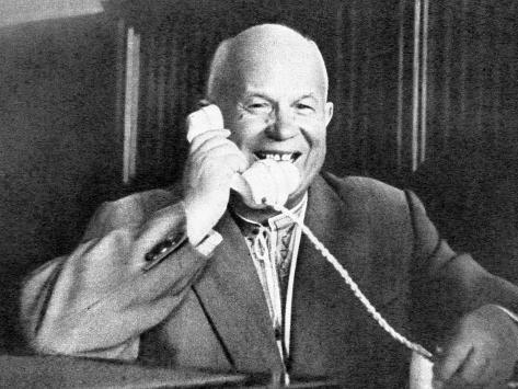 Khrushchev Talking with Gagarin on the Telephone, 1961 Stampa fotografica