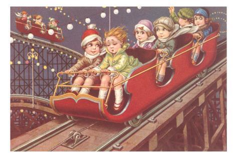 Kids on Roller Coaster Masterprint