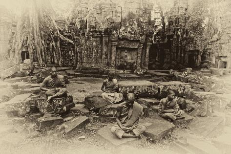 Theraveda Buddhist Monks at the Ta Prohm Temple in the Angkor Complex Photographic Print