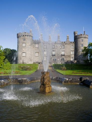 Kilkenny Castle - Rebuilt in the 19th Century, Kilkenny City, County Kilkenny, Ireland Stretched Canvas Print