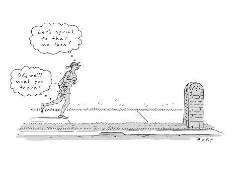 A woman is seen running while she and her legs are having two very differe… - New Yorker Cartoon Premium Giclee Print