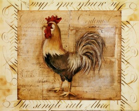 Rustic Farmhouse Rooster II Art Print