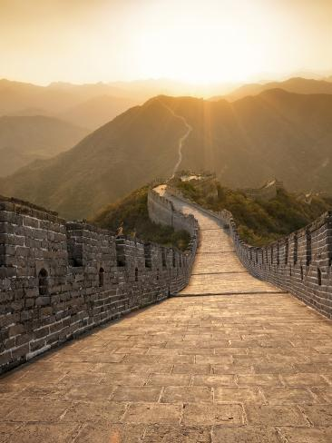 Great Wall of China, UNESCO World Heritage Site, Huanghuacheng (Yellow Flower) at Sunset, Ming Dyna Photographic Print