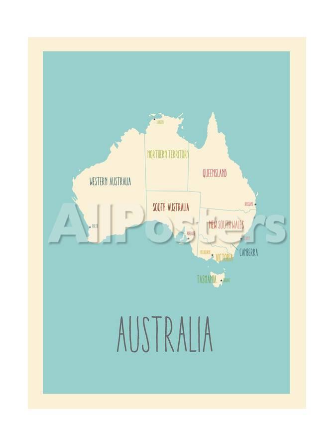 Australia - Mapa azul Pósters por Kindred Sol Collective en ...