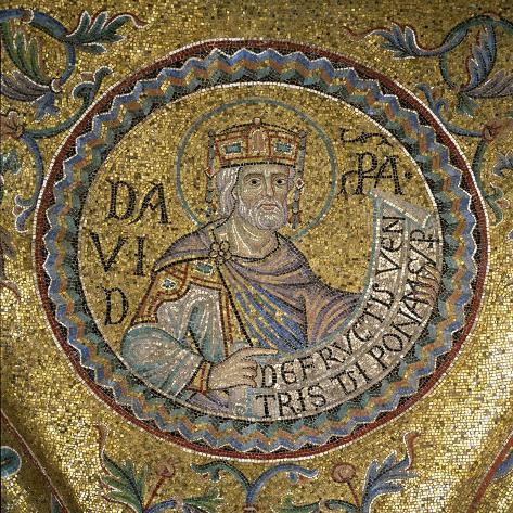 King David (Detail of Interior Mosaics in the St. Mark's Basilic), 13th Century Lámina giclée