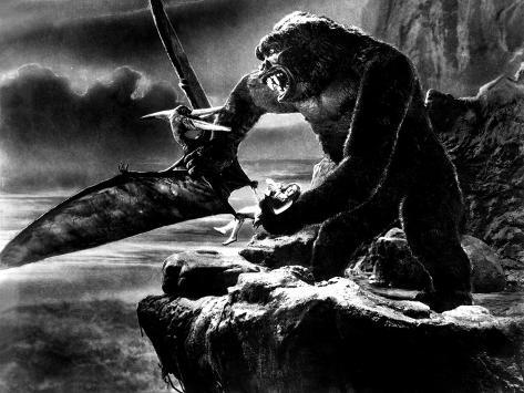 King Kong, 1933, Holding Fay Wray And Fighting Giant Flying Lizard Photo