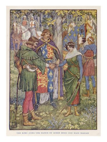 King Richard I Joins the Hands of Robin Hood and Maid Marian in Marriage Lámina giclée