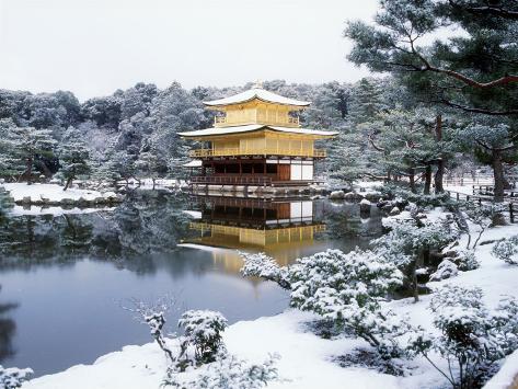 Kinkakuji Temple in Snow Photographic Print