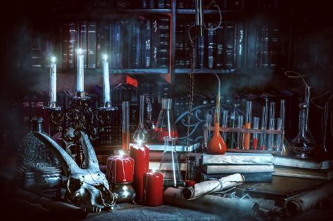 Medieval Alchemist Laboratory. Halloween. Fairy-Tale Interior. Photographic Print