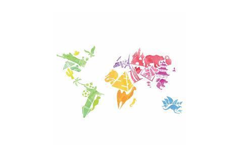 Watercolor Vector Map Art Print