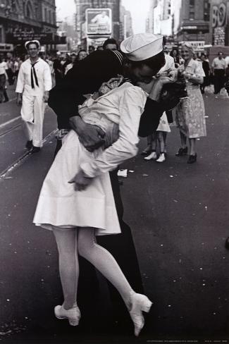 Kissing on VJ Day Mounted Print
