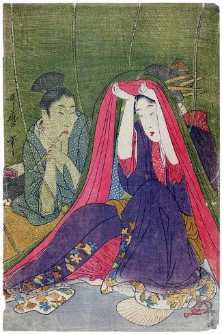 Japan: a Couple, the Man Smoking a Pipe and a Woman Lifting the Mosquito Net Lámina giclée