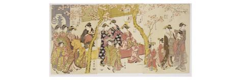 Three Groups of Courtesans with their Shinzo and Kamuro Giclee Print
