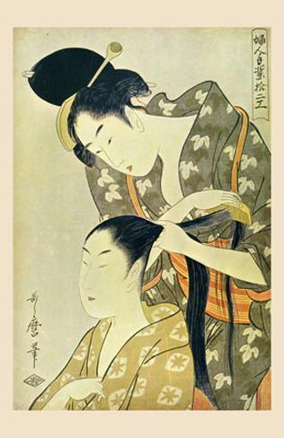 Woman Dressing Another's Hair Lámina