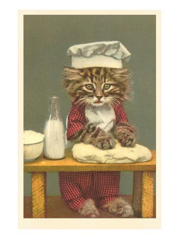 Kitten Making Bread Art Print