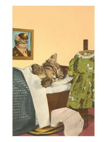 Kitten Sleeping in Bed Art Print