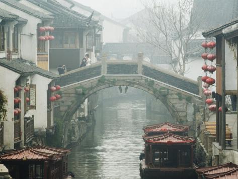 Traditional Old Riverside Houses in Shantang Water Town, Suzhou, Jiangsu Province, China Photographic Print