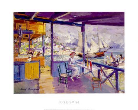 Terrace on a Sea Shore Art Print