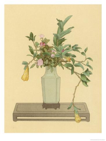 Horned Orange and Rose Used with a Vase Bearing the Signature of Chien-Lung to Form an Arrangement Giclee Print