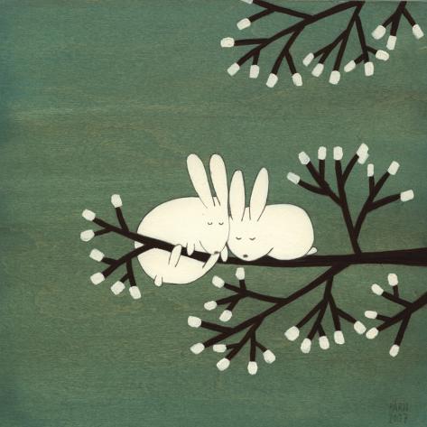 Kaninen på ett marshmallowträd Konstprint